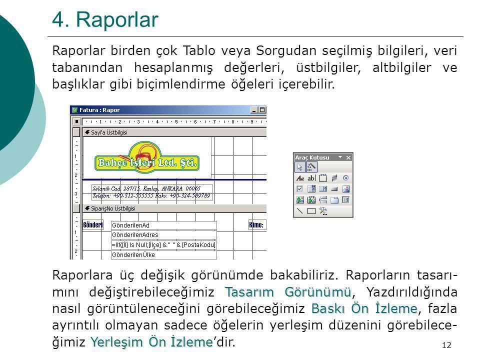 12 4. Raporlar Raporlar birden çok Tablo veya Sorgudan seçilmiş bilgileri, veri tabanından hesaplanmış değerleri, üstbilgiler, altbilgiler ve başlıkla