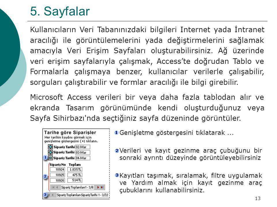 13 5. Sayfalar Kullanıcıların Veri Tabanınızdaki bilgileri Internet yada İntranet aracılığı ile görüntülemelerini yada değiştirmelerini sağlamak amacı