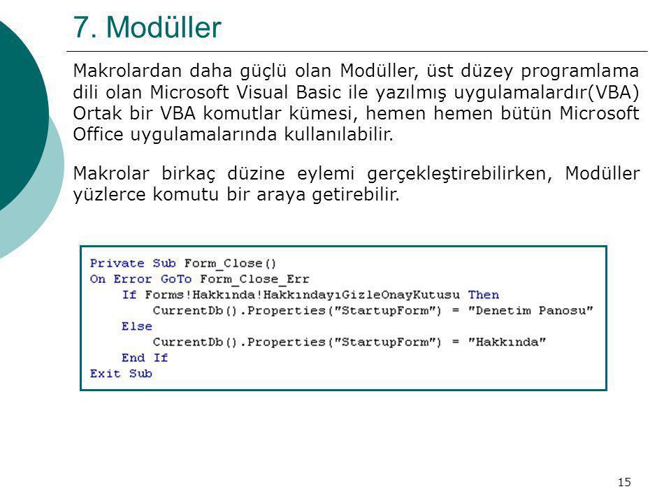 15 7. Modüller Makrolardan daha güçlü olan Modüller, üst düzey programlama dili olan Microsoft Visual Basic ile yazılmış uygulamalardır(VBA) Ortak bir