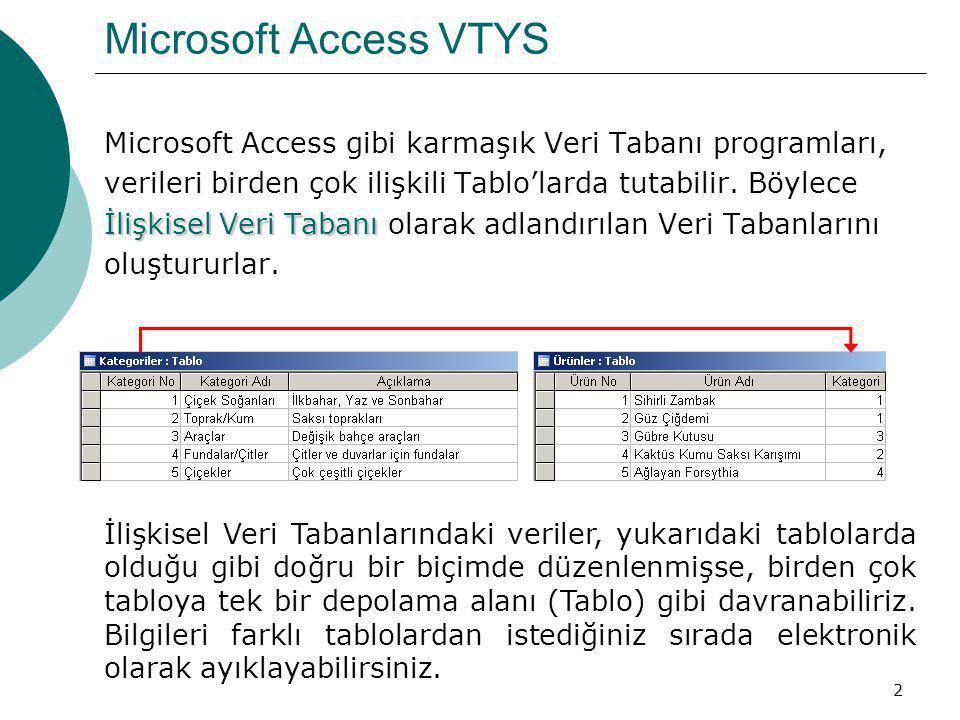 2 Microsoft Access VTYS Microsoft Access gibi karmaşık Veri Tabanı programları, verileri birden çok ilişkili Tablo'larda tutabilir. Böylece İlişkisel