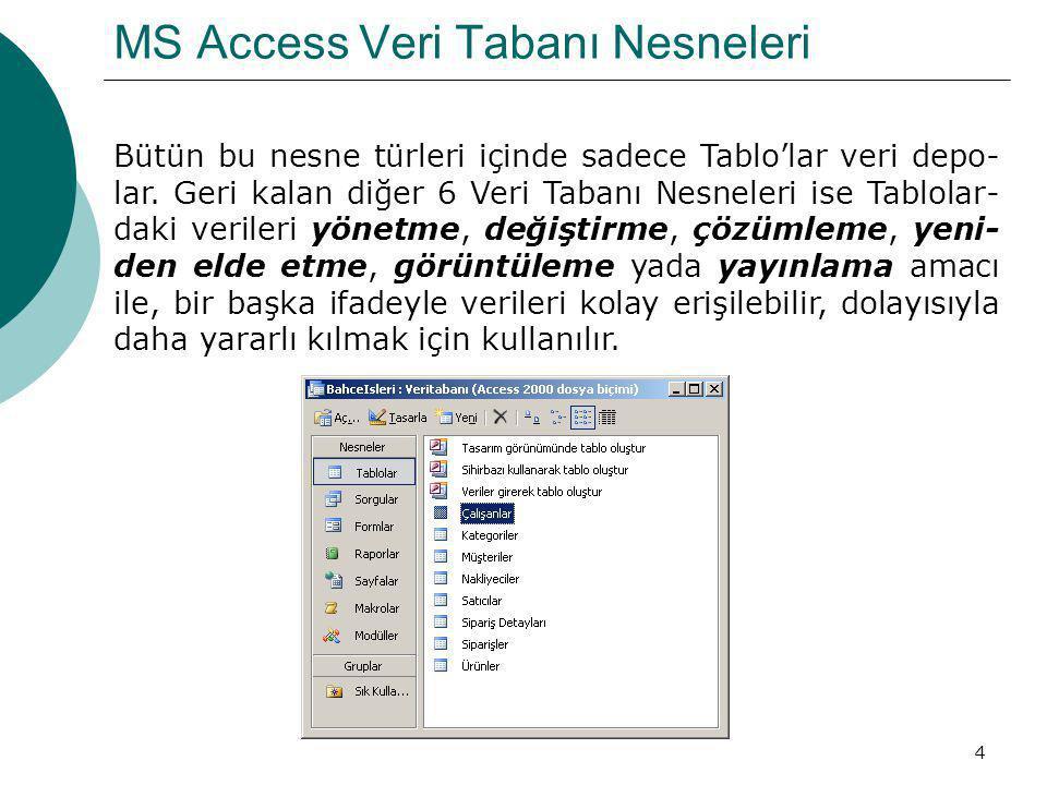 4 MS Access Veri Tabanı Nesneleri Bütün bu nesne türleri içinde sadece Tablo'lar veri depo- lar. Geri kalan diğer 6 Veri Tabanı Nesneleri ise Tablolar