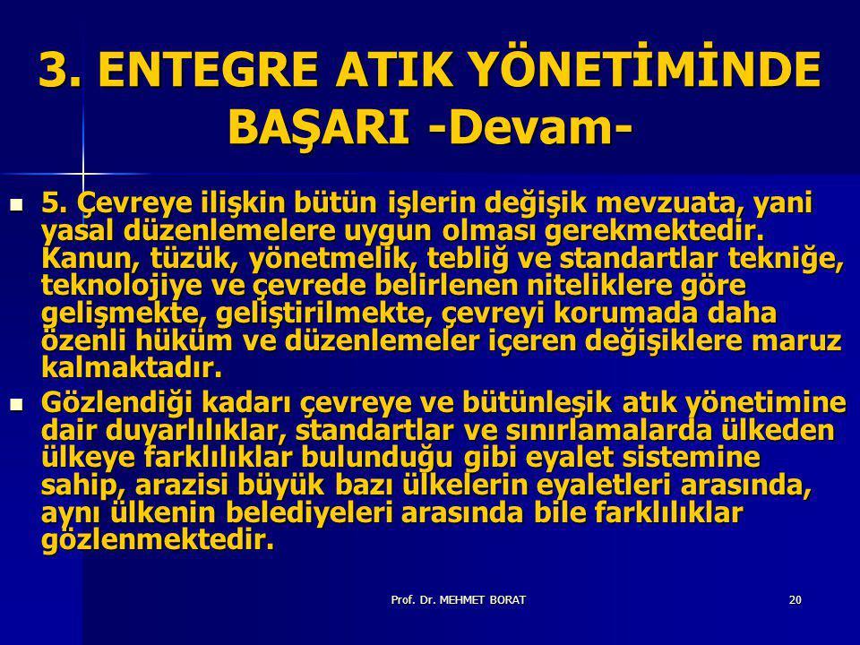 Prof.Dr. MEHMET BORAT20 3. ENTEGRE ATIK YÖNETİMİNDE BAŞARI -Devam- 5.