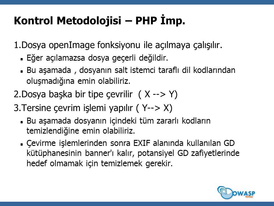 Kontrol Metodolojisi – PHP İmp. 1.Dosya openImage fonksiyonu ile açılmaya çalışılır.