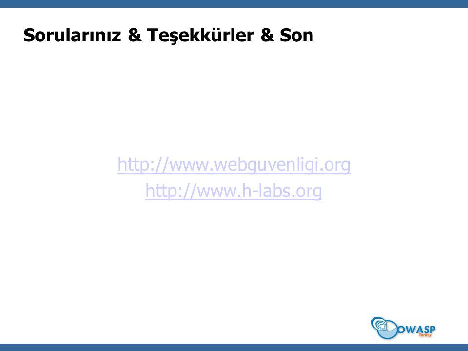 Sorularınız & Teşekkürler & Son http://www.webguvenligi.org http://www.h-labs.org