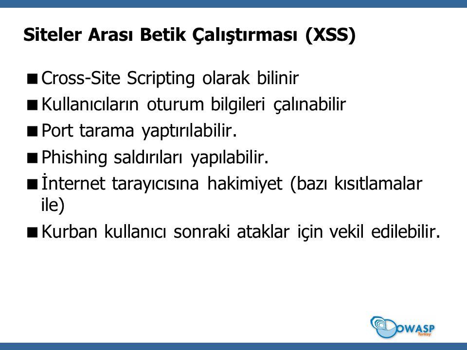 Siteler Arası Betik Çalıştırması (XSS)  Cross-Site Scripting olarak bilinir  Kullanıcıların oturum bilgileri çalınabilir  Port tarama yaptırılabilir.