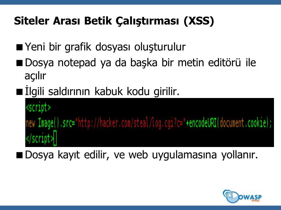 Siteler Arası Betik Çalıştırması (XSS)  Yeni bir grafik dosyası oluşturulur  Dosya notepad ya da başka bir metin editörü ile açılır  İlgili saldırının kabuk kodu girilir.