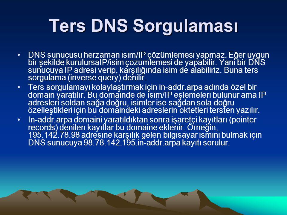 Ters DNS Sorgulaması DNS sunucusu herzaman isim/IP çözümlemesi yapmaz. Eğer uygun bir şekilde kurulursaIP/isim çözümlemesi de yapabilir. Yani bir DNS