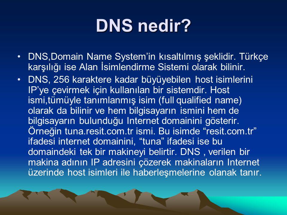 DNS nedir? DNS,Domain Name System'in kısaltılmış şeklidir. Türkçe karşılığı ise Alan İsimlendirme Sistemi olarak bilinir. DNS, 256 karaktere kadar büy
