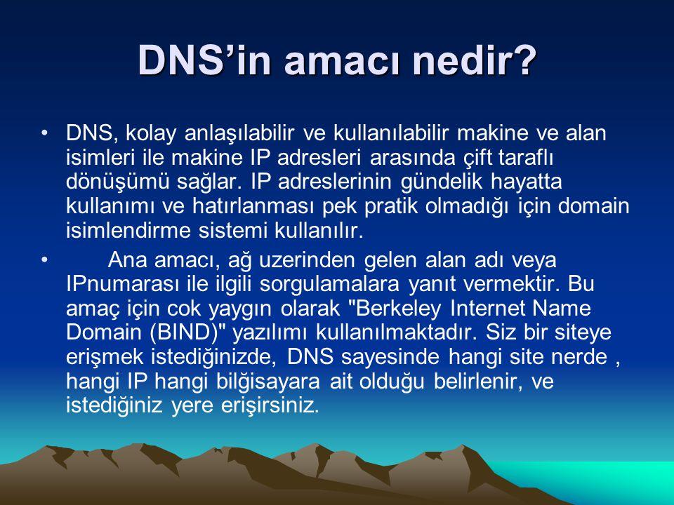 DNS'in amacı nedir? DNS, kolay anlaşılabilir ve kullanılabilir makine ve alan isimleri ile makine IP adresleri arasında çift taraflı dönüşümü sağlar.