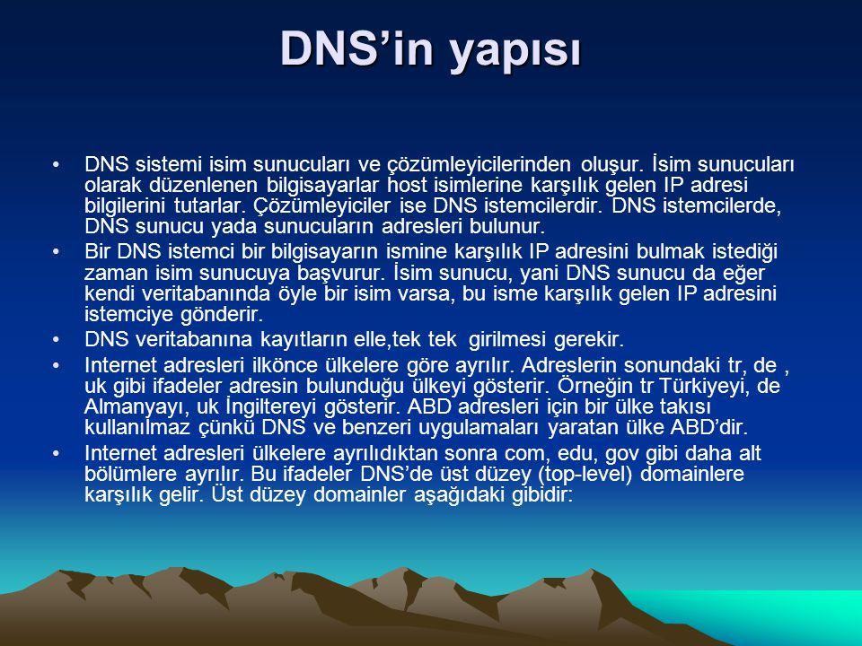 DNS'in yapısı DNS sistemi isim sunucuları ve çözümleyicilerinden oluşur. İsim sunucuları olarak düzenlenen bilgisayarlar host isimlerine karşılık gele