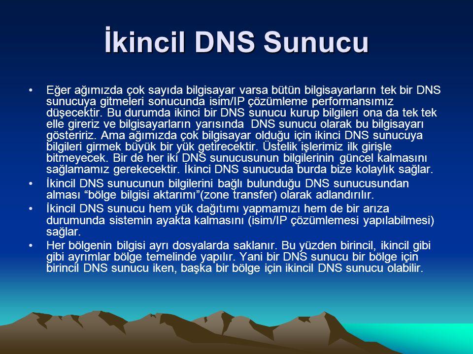 İkincil DNS Sunucu Eğer ağımızda çok sayıda bilgisayar varsa bütün bilgisayarların tek bir DNS sunucuya gitmeleri sonucunda isim/IP çözümleme performa