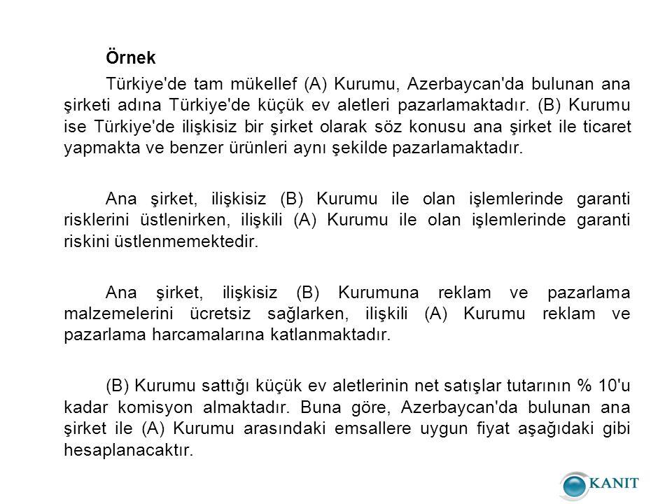 Örnek Türkiye de tam mükellef (A) Kurumu, Azerbaycan da bulunan ana şirketi adına Türkiye de küçük ev aletleri pazarlamaktadır.