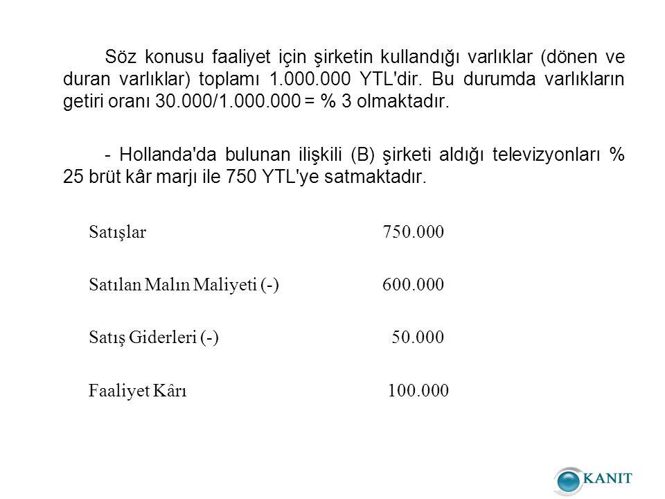 Söz konusu faaliyet için şirketin kullandığı varlıklar (dönen ve duran varlıklar) toplamı 1.000.000 YTL dir.
