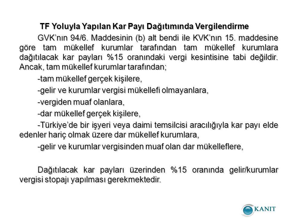 TF Yoluyla Yapılan Kar Payı Dağıtımında Vergilendirme TF Yoluyla Yapılan Kar Payı Dağıtımında Vergilendirme GVK'nın 94/6.