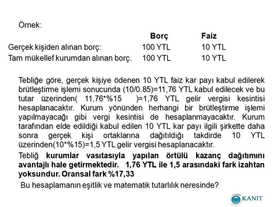 Örnek: BorçFaiz BorçFaiz Gerçek kişiden alınan borç: 100 YTL10 YTL Tam mükellef kurumdan alınan borç.