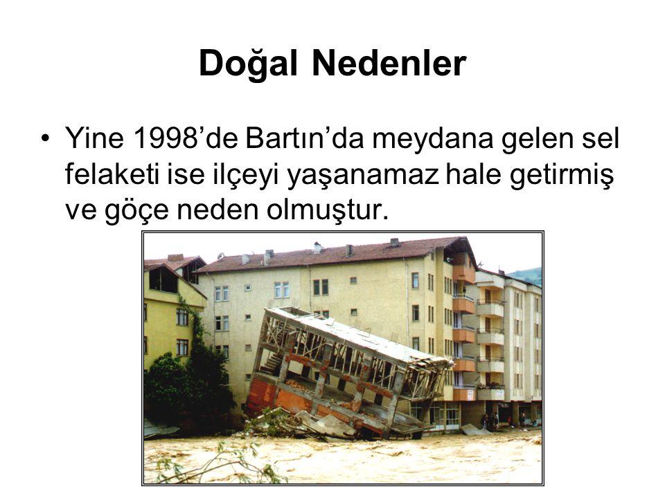 Doğal Nedenler Doğal yıkımlardan zarar gören insanlar bulundukları yerleri terk ederek koşulları daha iyi olan yerlere göç ederler.