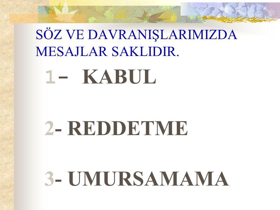 SÖZ VE DAVRANIŞLARIMIZDA MESAJLAR SAKLIDIR. 1- KABUL 2- REDDETME 3- UMURSAMAMA