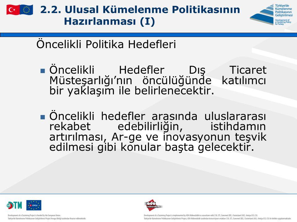 2.2. Ulusal Kümelenme Politikasının Hazırlanması (I) Öncelikli Politika Hedefleri Öncelikli Hedefler Dış Ticaret Müsteşarlığı'nın öncülüğünde katılımc