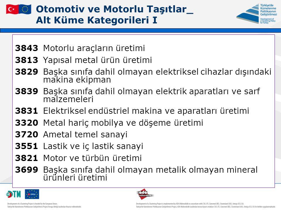 Otomotiv ve Motorlu Taşıtlar_ Alt Küme Kategorileri I 3843Motorlu araçların üretimi 3813Yapısal metal ürün üretimi 3829Başka sınıfa dahil olmayan elek