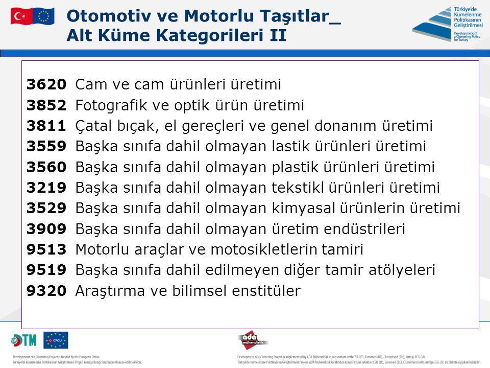 Otomotiv ve Motorlu Taşıtlar_ Alt Küme Kategorileri II 3620Cam ve cam ürünleri üretimi 3852Fotografik ve optik ürün üretimi 3811Çatal bıçak, el gereçl