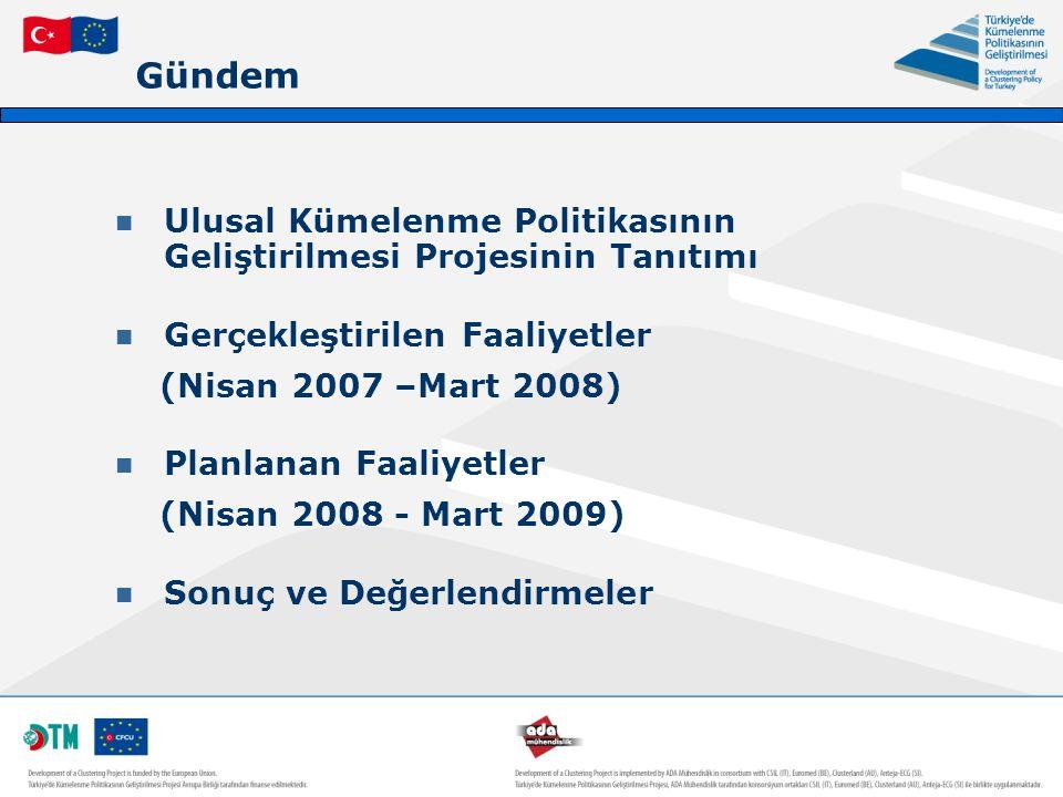 Gündem Ulusal Kümelenme Politikasının Geliştirilmesi Projesinin Tanıtımı Gerçekleştirilen Faaliyetler (Nisan 2007 –Mart 2008) Planlanan Faaliyetler (N