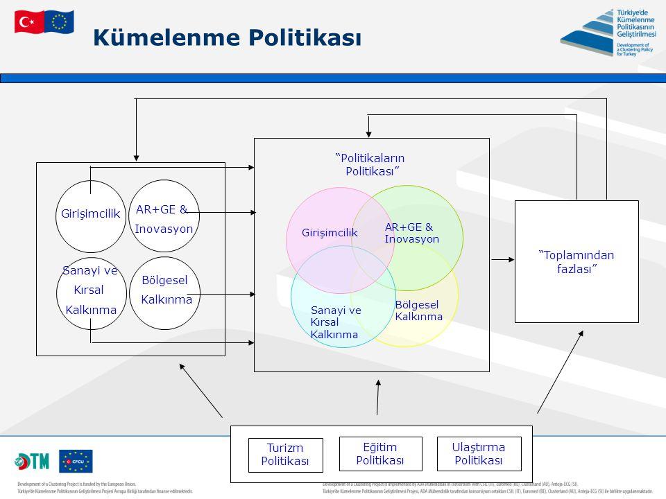 """Kümelenme Politikası """"Politikaların Politikası"""" Girişimcilik AR+GE & Inovasyon Sanayi ve Kırsal Kalkınma Bölgesel Kalkınma Turizm Politikası Eğitim Po"""