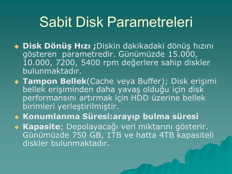 Sabit Disk Parametreleri   Disk Dönüş Hızı ;Diskin dakikadaki dönüş hızını gösteren parametredir. Günümüzde 15.000, 10.000, 7200, 5400 rpm değerlere