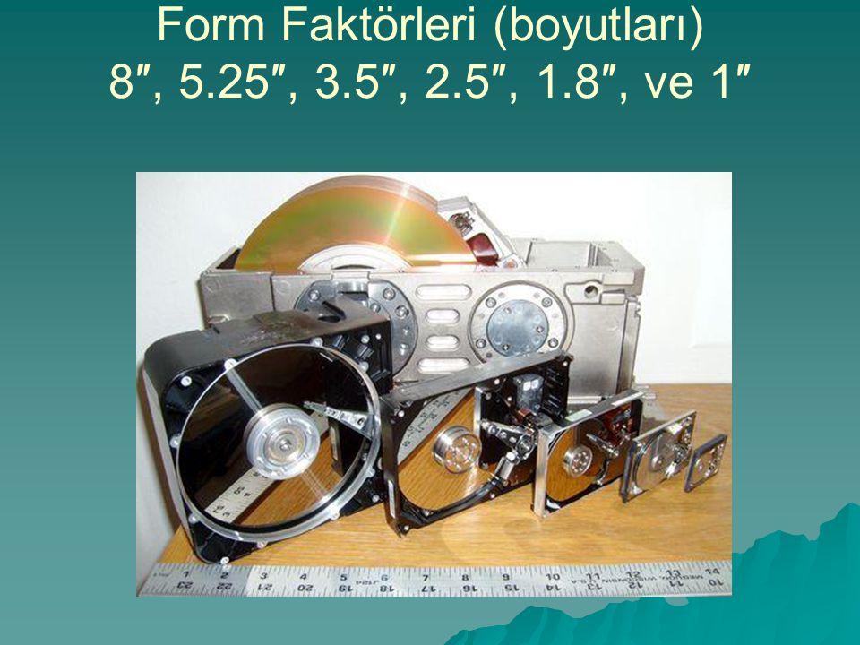 Form Faktörleri (boyutları) 8″, 5.25″, 3.5″, 2.5″, 1.8″, ve 1″