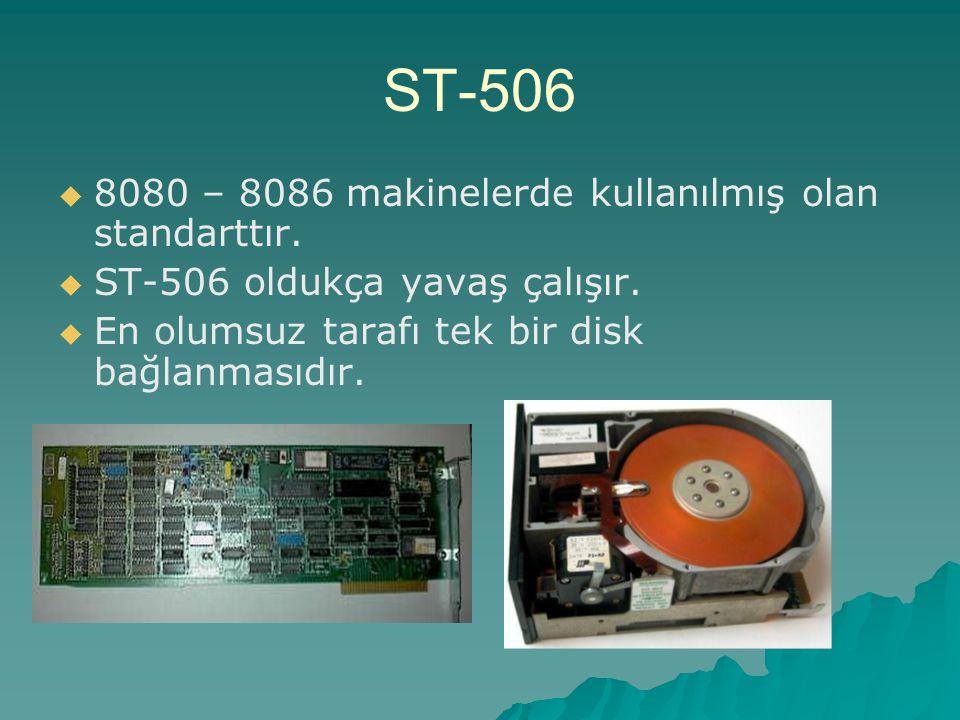 ST-506   8080 – 8086 makinelerde kullanılmış olan standarttır.   ST-506 oldukça yavaş çalışır.   En olumsuz tarafı tek bir disk bağlanmasıdır.