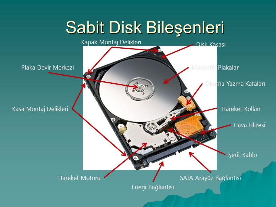 Sabit Disk (Hard Disk,HD)  Bütün masaüstü sistemlerde en az bir hard disk bulunur.