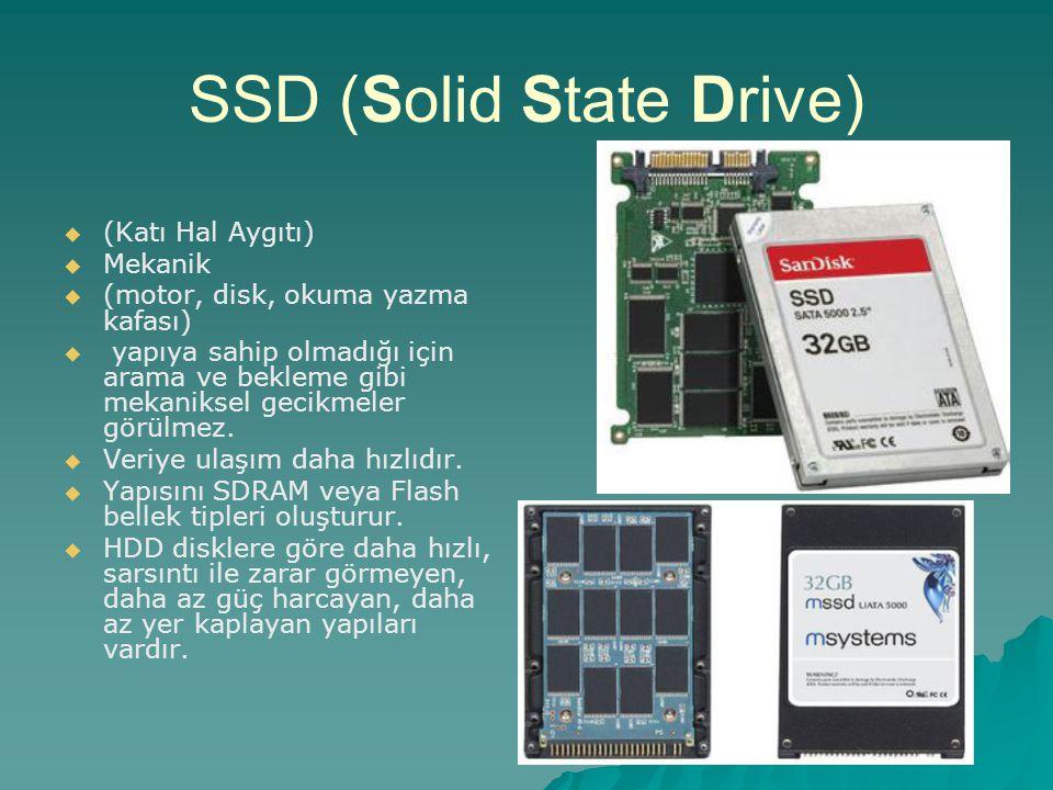 SSD (Solid State Drive)   (Katı Hal Aygıtı)   Mekanik   (motor, disk, okuma yazma kafası)   yapıya sahip olmadığı için arama ve bekleme gibi m