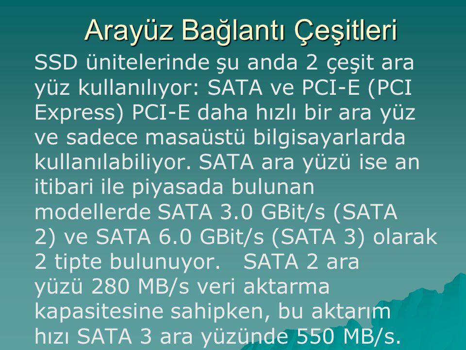 SSD ünitelerinde şu anda 2 çeşit ara yüz kullanılıyor: SATA ve PCI-E (PCI Express) PCI-E daha hızlı bir ara yüz ve sadece masaüstü bilgisayarlarda kul