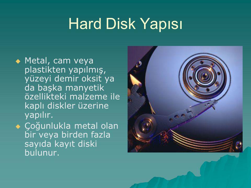Hard Disk Yapısı   Metal, cam veya plastikten yapılmış, yüzeyi demir oksit ya da başka manyetik özellikteki malzeme ile kaplı diskler üzerine yapılı
