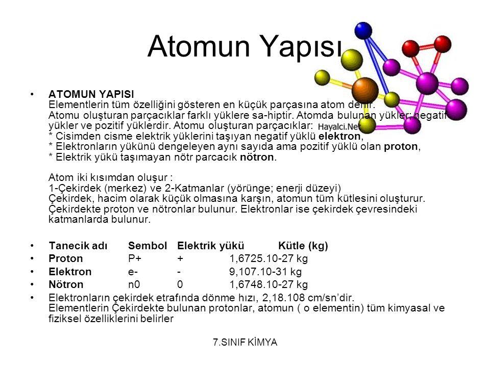 7.SINIF KİMYA Atomun Yapısı ATOMUN YAPISI Elementlerin tüm özelliğini gösteren en küçük parçasına atom denir. Atomu oluşturan parçacıklar farklı yükle