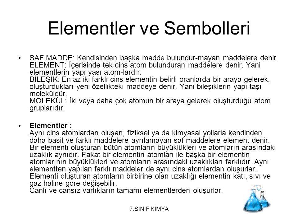 Elementler ve Sembolleri SAF MADDE: Kendisinden başka madde bulundur-mayan maddelere denir. ELEMENT: İçerisinde tek cins atom bulunduran maddelere den