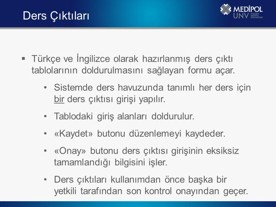  Türkçe ve İngilizce olarak hazırlanmış ders çıktı tablolarının doldurulmasını sağlayan formu açar. Sistemde ders havuzunda tanımlı her ders için bir