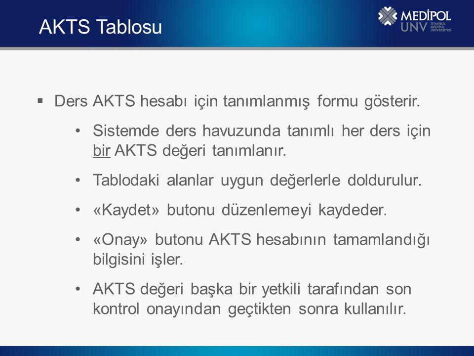  Ders AKTS hesabı için tanımlanmış formu gösterir. Sistemde ders havuzunda tanımlı her ders için bir AKTS değeri tanımlanır. Tablodaki alanlar uygun