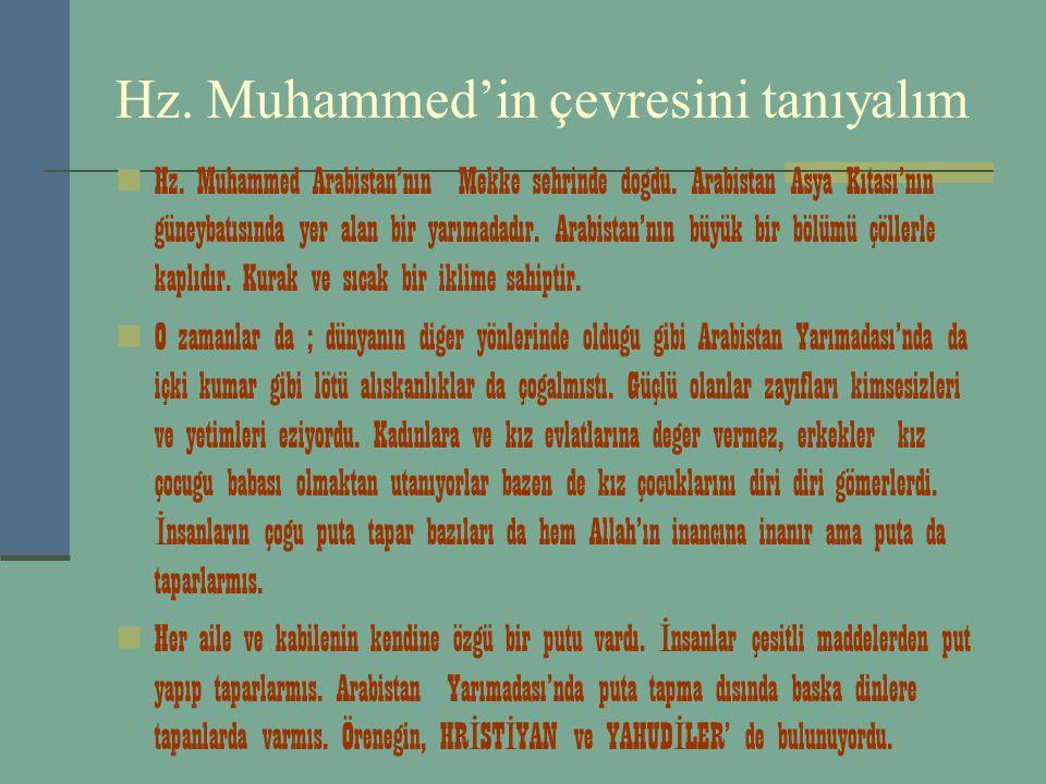 Hz. Muhammed'in çevresini tanıyalım Hz. Muhammed Arabistan'nın Mekke sehrinde dogdu. Arabistan Asya Kıtası'nın güneybatısında yer alan bir yarımadadır