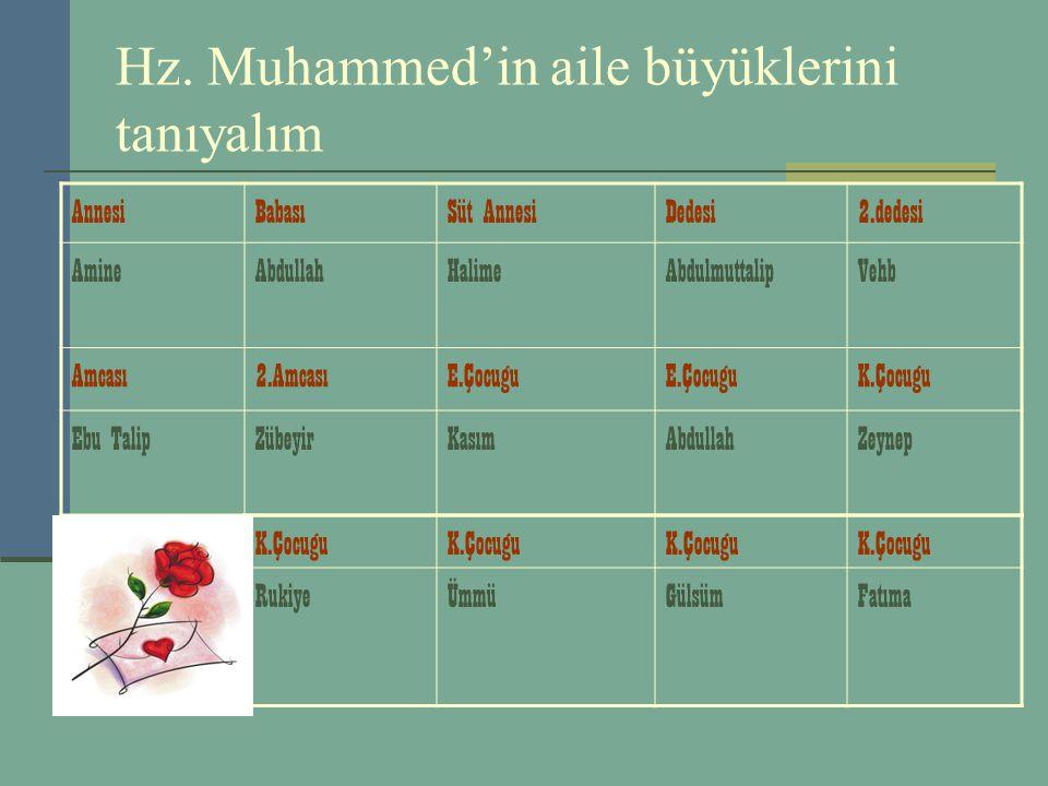 Hz. Muhammed'in aile büyüklerini tanıyalım AnnesiBabasıSüt AnnesiDedesi2.dedesi AmineAbdullahHalimeAbdulmuttalipVehb Amcası2.AmcasıE.Çocugu K.Çocugu E
