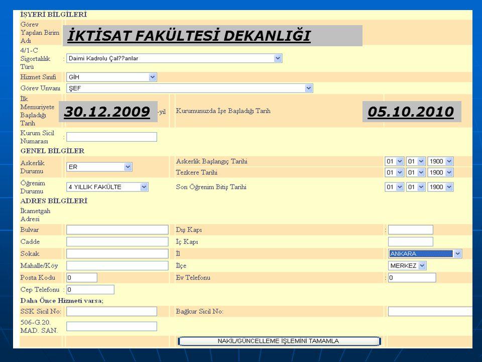 48 İKTİSAT FAKÜLTESİ DEKANLIĞI 30.12.200905.10.2010