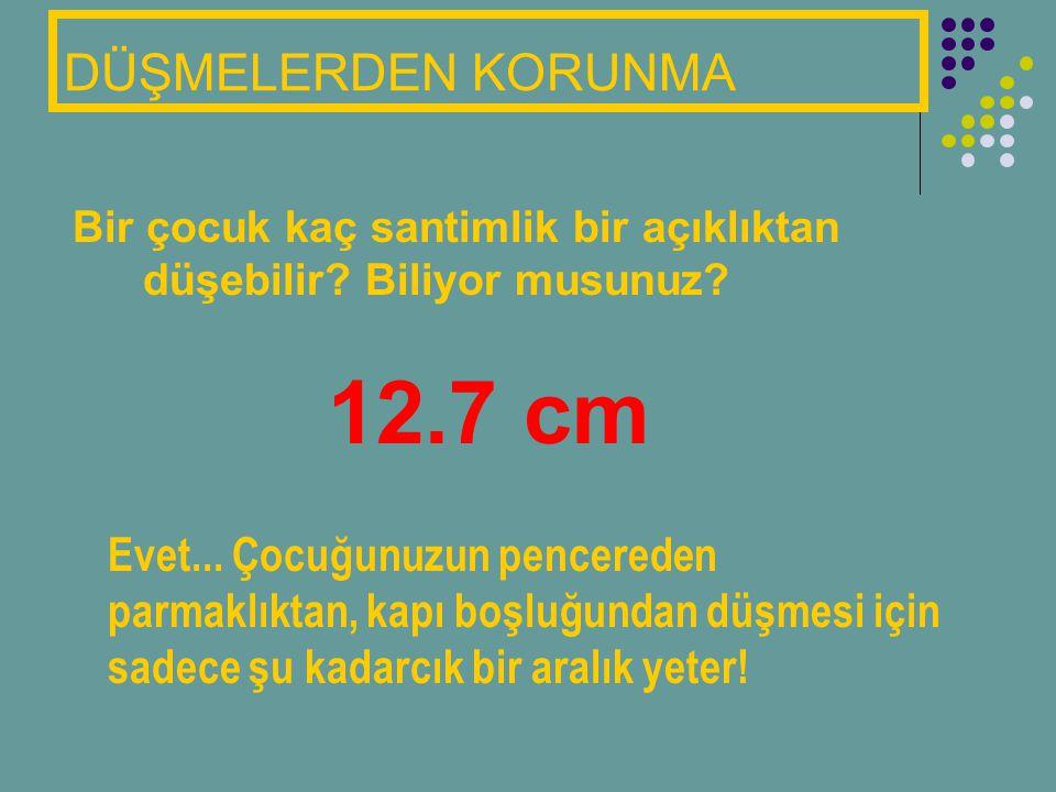 DÜŞMELERDEN KORUNMA Bir çocuk kaç santimlik bir açıklıktan düşebilir? Biliyor musunuz? 12.7 cm Evet... Çocuğunuzun pencereden parmaklıktan, kapı boşlu