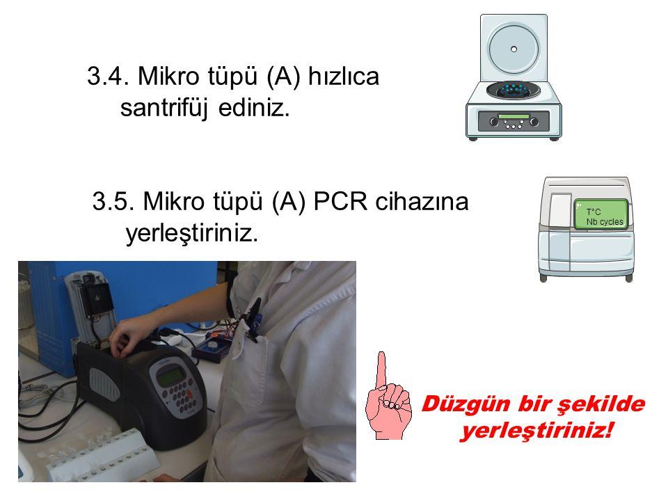 3.4. Mikro tüpü (A) hızlıca santrifüj ediniz. 3.5.
