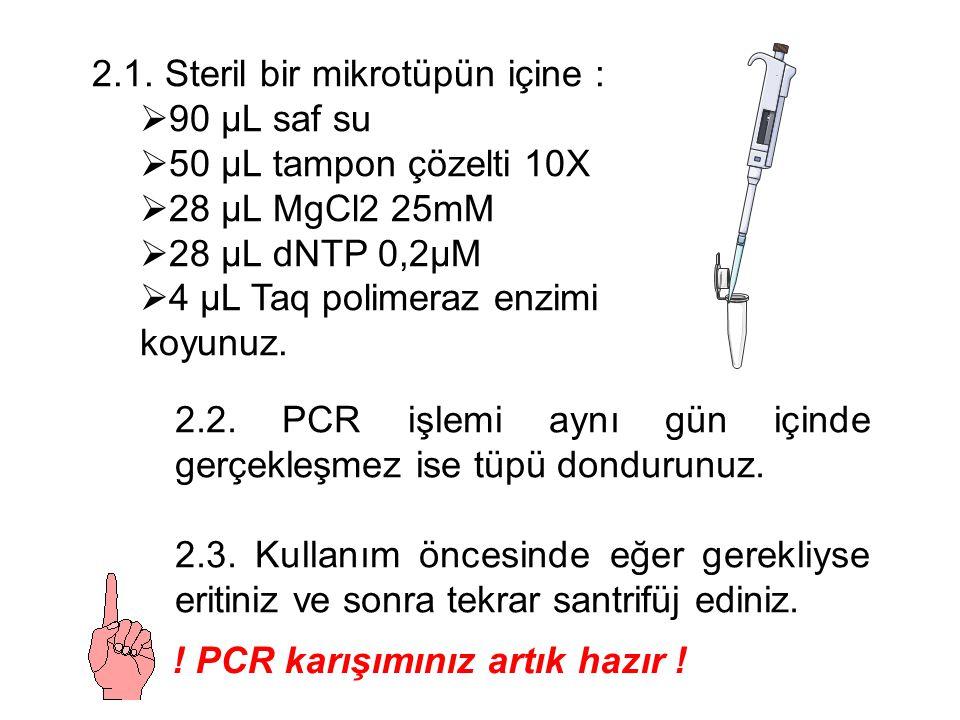 2.1. Steril bir mikrotüpün içine :  90 µL saf su  50 µL tampon çözelti 10X  28 µL MgCl2 25mM  28 µL dNTP 0,2µM  4 µL Taq polimeraz enzimi koyunuz