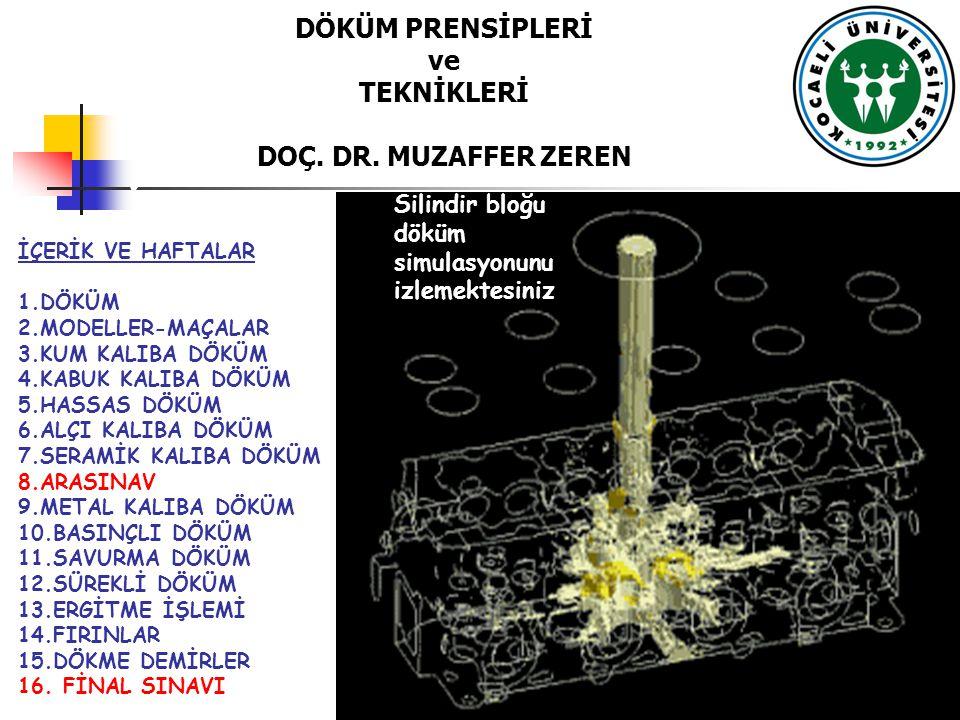 DÖKÜM PRENSİPLERİ ve TEKNİKLERİ DOÇ. DR. MUZAFFER ZEREN İÇERİK VE HAFTALAR 1.DÖKÜM 2.MODELLER-MAÇALAR 3.KUM KALIBA DÖKÜM 4.KABUK KALIBA DÖKÜM 5.HASSAS
