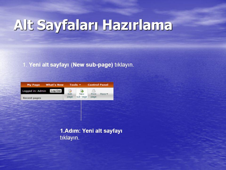 Alt Sayfaları Hazırlama 1.Yeni alt sayfayı (New sub-page) tıklayın.