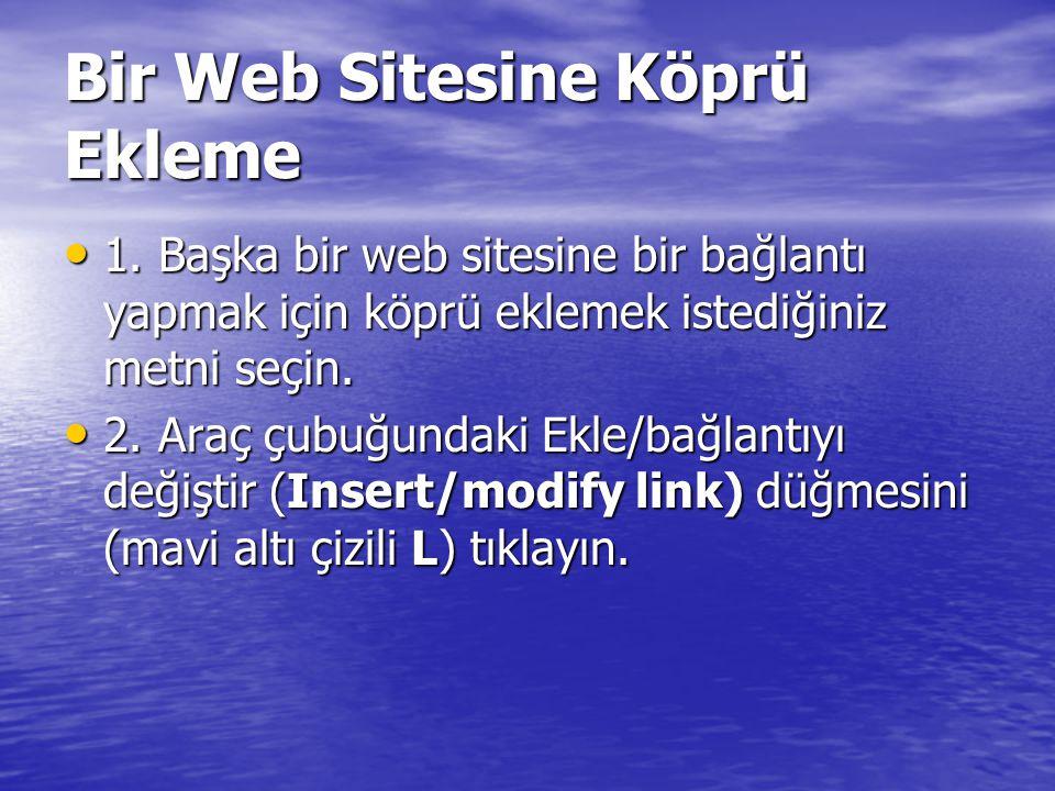 Bir Web Sitesine Köprü Ekleme 1.