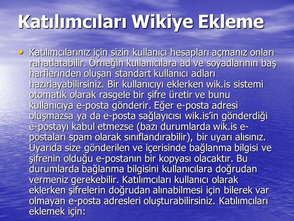Katılımcıları Wikiye Ekleme Katılımcılarınız için sizin kullanıcı hesapları açmanız onları rahatlatabilir.