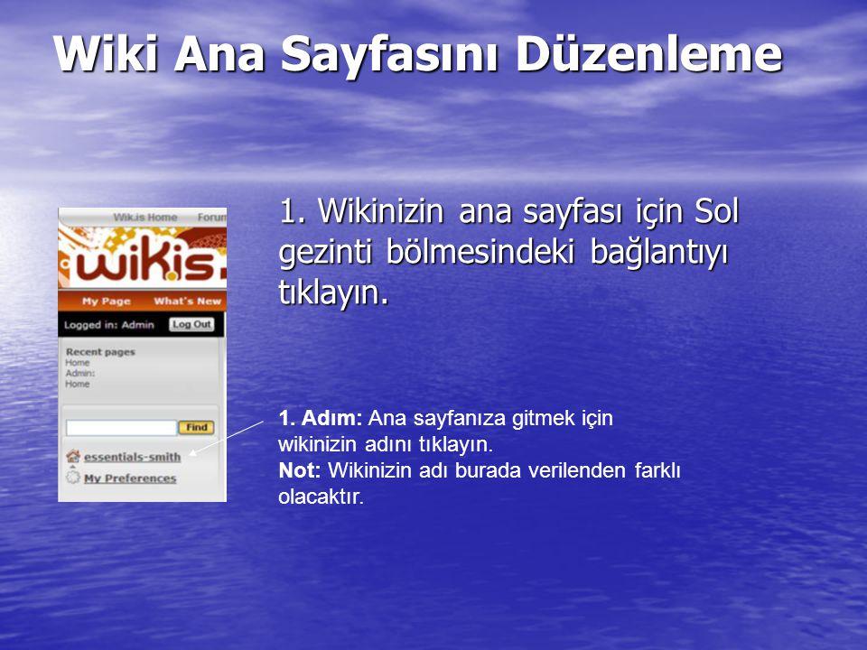 1.Wikinizin ana sayfası için Sol gezinti bölmesindeki bağlantıyı tıklayın.