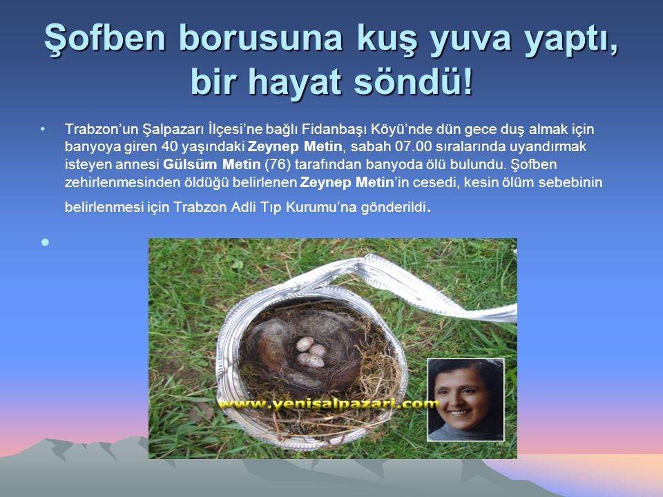 Şofben borusuna kuş yuva yaptı, bir hayat söndü! Trabzon'un Şalpazarı İlçesi'ne bağlı Fidanbaşı Köyü'nde dün gece duş almak için banyoya giren 40 yaşı
