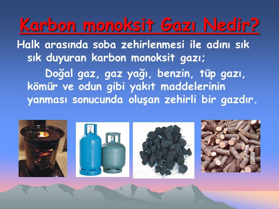 Karbon monoksit Gazı Nedir? Halk arasında soba zehirlenmesi ile adını sık sık duyuran karbon monoksit gazı; Doğal gaz, gaz yağı, benzin, tüp gazı, köm